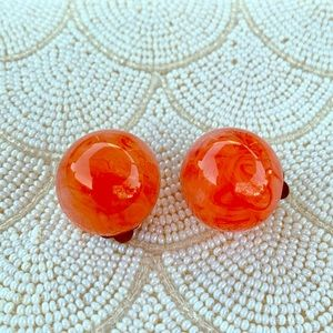 Vintage marbled orange button clip earrings